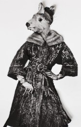 Collage of a vintage fashion portrait of a woman with an animal head.