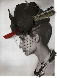 Vintage shot of a woman profile face with a decorated hat