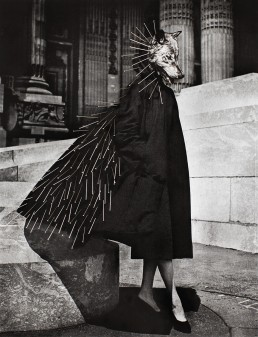 Vintage fashion shot of a full body of a woman with a wolf head and decorated with needle pins.