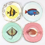Still life photo of four plates seen from above.