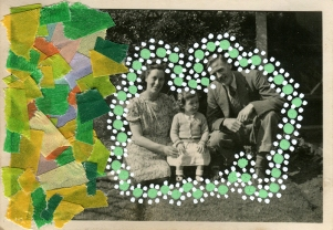 Collage over a vintage family portrait decorated with washi tape and dotty green and white pens around the family.