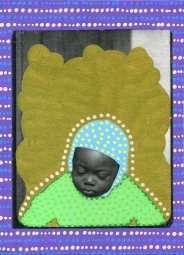 Photo transfer on canvas of a vintage photo booth portrait of a baby looking down his feet, decorated with coloured pens.