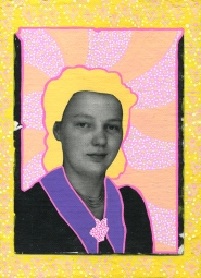 Photo transfer on canvas of a vintage photo booth portrait of a young woman decorated with coloured pens.