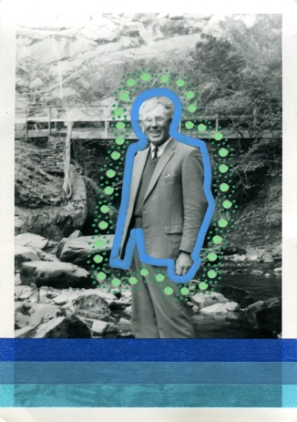 collage over a man outdoors vintage portrait, decorated with dotty green pens and blue washi tape.