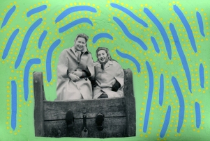 Collage over a vintage photo of two smiling women decorated with green, yellow and light blue pens.
