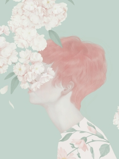 Woman portrait illustration with the face covered by pink flowers.