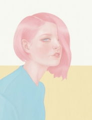 Illustration of a woman portrait with pink hair.