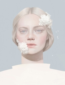 Illustration of a woman frontal portrait with her face partially covered by white flowers.
