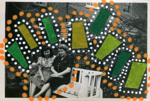 Collage over a vintage photo of two women sat on a bench outdoor, decorated with green washi tape and dotty white and orange pens.