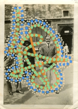 Collage over a vintage photo of a group of three people outdoors, decorated with cream, green, orange and light blue pens.