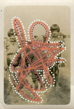 Collage over a vintage photo of three kids outdoors, decorated using red, white and purple pens.