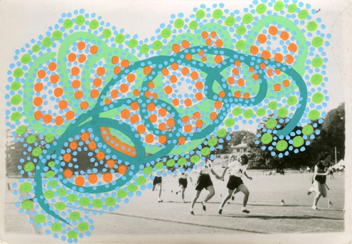 Collage over a vintage photo of a group of women running outdoors, decorated with orange, green and light blue pens.
