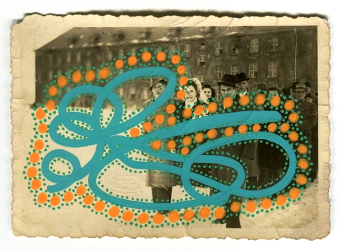Collage over a vintage photo of a group of people outdoors, decorated using orange and green pens.