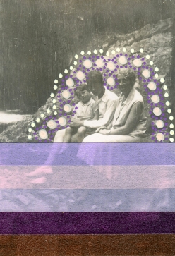 Collage created over a vintage family portrait using washi tape and pens.