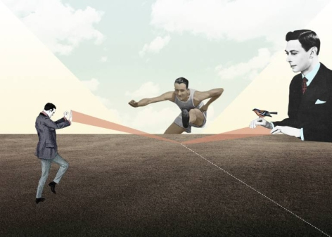 Digital collage of a group of men. A man is an athlete jumping, the other two are staring at him.