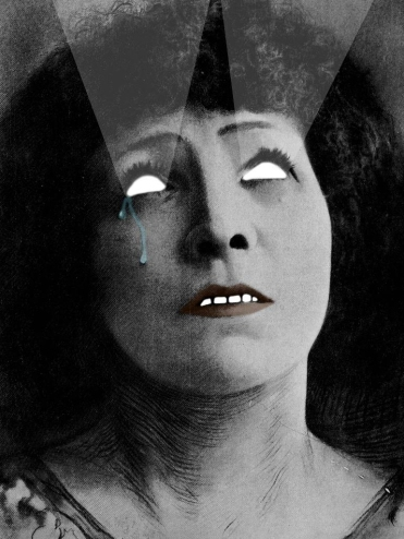 Digital collage of a crying woman with lights coming out from her look.