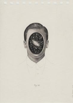 Pencil defaced man portrait on paper.