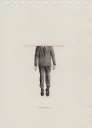Pencil drawing on paper of a headless male body floating in the air.