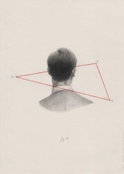 Pencil man portrait seen from his back with a red triangle that surrounds him.