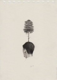 Pencil man portrait in paper seen from his back with a tree over his head.