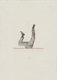Pencil drawing on paper of man legs floating in the air.