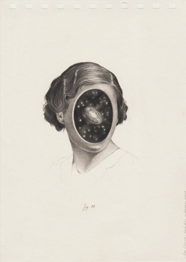 Pencil drawing on paper of a faceless woman.