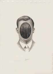 Pencil drawing on paper of a faceless man.