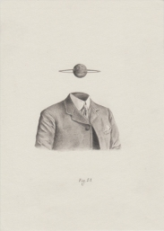 Pencil drawing of an headless man portrait with a planet floating over him.