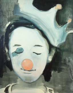 Portrait of a young girl with a clown makeup and a crown over her head.