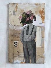 Collage of a man body with flowers as a head putted over an old vintage paper background.