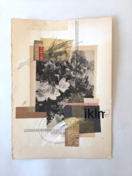 Collage o flowers photo with a found vintage papers composition.