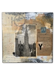 Collage of a vintage skyscraper photo putted over found vintage papers.