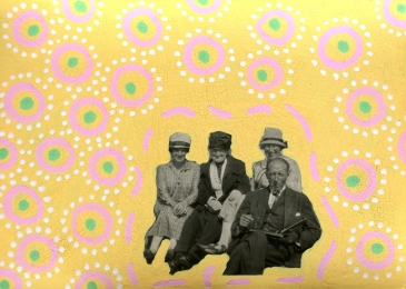 Collage realised over a vintage photo of a group of people and decorated with pastel yellow, pastel pink, green and white pens.
