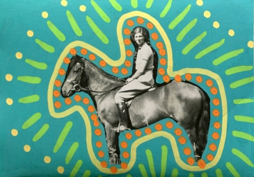 Collage created over a vintage photo of a woman riding a horse, decorated using orange, yellow and green pens.