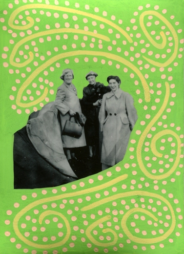 Collage done over a vintage photo of a group of three women and decorated using yellow, cream and green pens.