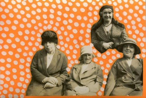 Collage on vintage photo of a group of women decorated using orange and cream pens.