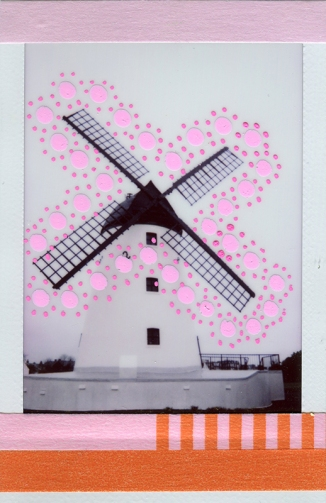 collage over a windmill black and white photo, decorated with pink pens and red/pink washi tape.
