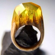Still life photo of a ring with a yellow tiny landscape inside.