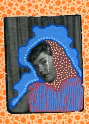 Photo transfer on canvas of a vintage photo booth portrait of a woman staring at the camera, decorated with coloured pens.