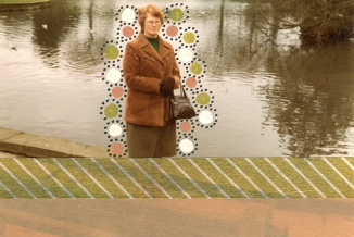 collage over a vintage photo of a woman outdoors decorated with pens and golden washi tape.