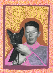 Photo transfer on canvas of a vintage photo booth portrait of a young boy and his dog, decorated with coloured pens.