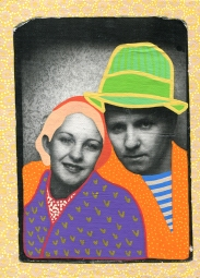 Photo transfer on canvas of a vintage photo booth portrait of a couple decorated with coloured pens.