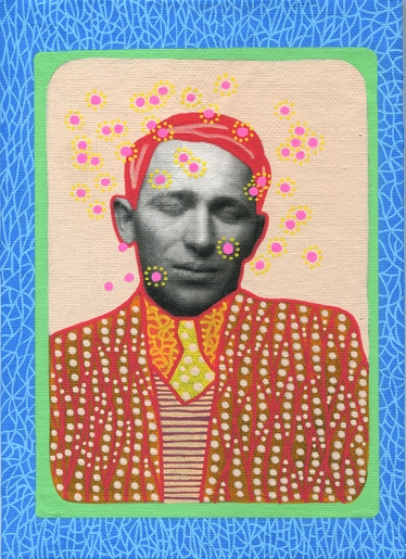 Photo transfer on canvas of a vintage photo booth portrait of a man with his eyes closed, decorated with coloured pens.