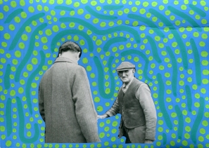 Collage on vintage photo of two men decorated using green pens.