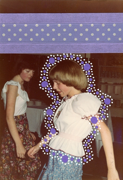 Collage over a vintage photo of two young girls dancing, decorated with dotty white and purple pens and lilac washi tape.