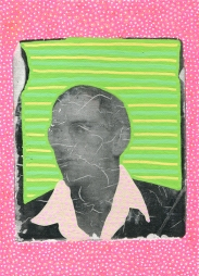 Photo transfer on canvas of a vintage photo booth portrait of a man staring at the camera, decorated with coloured pens.