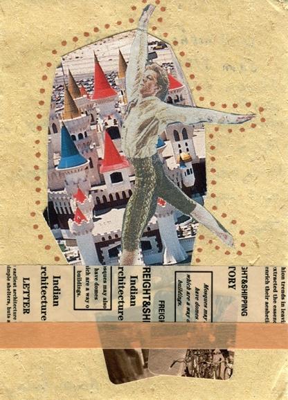 Collage dada style of a dancer and colorful roofs in the background decorated with washi tape, stickers and pens.