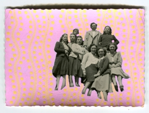 Collage on vintage photo of a group of young women decorated using pastel pink and yellow pens.