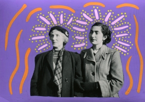 Collage on vintage photo of two women decorated with purple, pastel pink, yellow and orange pens.