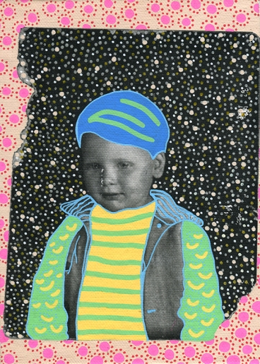 Photo transfer on canvas of a vintage photo booth portrait of a baby boy looking down, decorated with coloured pens.